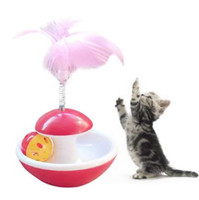Pet القط هريرة لعبة المتداول خدش الكرة مضحك القط هريرة لعب الدمى الكرة بهلوان الكرة القط لعب التفاعلية الريشة الكرة لعبة