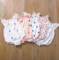 INS neonata copre Ruffle bambino pagliaccetti del fumetto infantile delle ragazze delle tute senza maniche Newborn tutina Boutique Abbigliamento bambino DW5233