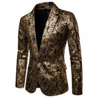 Erkekler Bir Düğme Altın Folyo Damgalama Altın Çiçek Baskılı Takım DJ Kulübü Sahne Düğün Spor Takım Elbise Ince Resmi Fit Rahat Erkekler Blazer