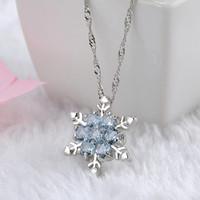 Fascino Vintage lady Blue Crystal Snowflake Zircone Fiore Argento Pendenti delle collane Gioielli regalo per le donne ragazze all'ingrosso