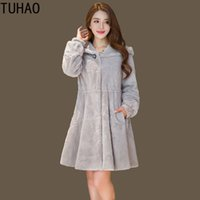 TUHAO 2018 Winter Office Lady Casual Furry Faux Fur Coats Wo...