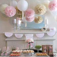10pcs / lot 30cm Pom Poms di carta velina 12 pollici fiore palla di carta decorazione di compleanno di nozze forniture per feste a casa fiore falso