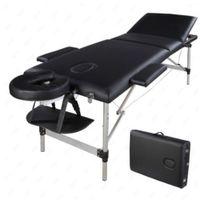 Lit de massage Waco, 3 sections portable, meubles beauté spa, tube en aluminium pliant, appui-tête réglable, table de salon du corps du visage - Noir