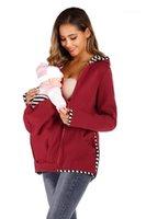Felpa a maniche lunghe con cappuccio Zip casual Famale abiti larghi Felpa Moda primavera maternità Mama Designer Kangaroo