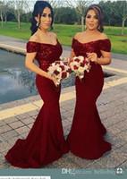 Borgogna Bridemaid Abiti Paillettes Pizzo Sirena Off Spalla Wedding Guest Dress Lungo abiti da damigella d'onore A Buon Mercato Abiti Da Festa abito