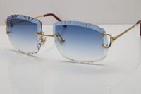 Ücretsiz Kargo High-end Güneş Gözlüğü Unisex Gözlük Çerçevesiz Metal T8200762 Ahşap Güneş Gözlüğü Pilot Güneş Gözlüğü Moda UV400 Sürüş Gözlük