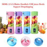380ml 2/4/6 شفرات صغيرة محمولة الكهربائية عصارة الفاكهة USB قابلة للشحن عصير صانع خلاط آلة الرياضة زجاجة عصر العصير كأس DHL مجانا