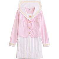 Uniforme scolastica giapponese cosplay Donna Sakura Top rosa chiaro + gonna a pieghe bianca JK Uniform Girls Japanese Sailor Suit