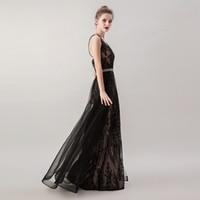 2020 Negro elegante atractivo de la sirena vestidos de noche de las lentejuelas largo sin espalda Ropa formal Prom Party 5265 vestido maxi con sobrefalda desmontable