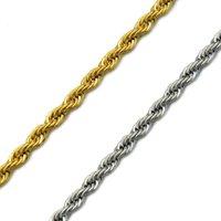 HIP cuerda Hop Oro acero inoxidable 304L collar de cadena hombres Twisted collares para las mujeres de los hombres de joyería