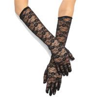 Trendy Frauen Kleidung Tüll Armlinge Spitze Halb Sheer Brautkleid Partei Handschuhe Touchscreen ein Paar