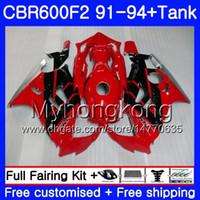 Cuerpo + tanque para HONDA CBR 600F2 CBR600FS CBR600F2 hot Factory rojo 91 92 93 94 288HM.21 CBR 600 F2 FS CBR600 F2 1991 1992 1993 1994 Kit de carenado