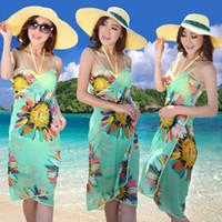 Atacado Saia De Praia encobrimento Impresso Floral Bikini Swimsuit da Praia Natação Cover Up Mix Mulheres Bodycon vestido do verão