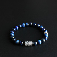Eastisan Blue Eagle Eye Stone Beads With Tibetan Buddhism Ma...