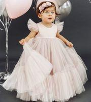 2020 Simple Cheap Flower Girl Dresse Off Shoulder A-line Tulle Little Girl Wedding Dresses Cheap Communion Pageant Dresses Gowns F301
