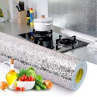 Fogão de parede de cozinha Anum Foil Adesivos à prova de óleo Anti-incrustantes de alta temperatura auto-adesivo Croppable Adesivo de parede 40 * 100 cm