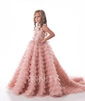 Pretty Pink Capas Applique Beads Chica Pageants Vestidos Flor Muchacha Vestidos Vacaciones / Falda de cumpleaños Falda Princesa Tamaño personalizado 2-14 F106126