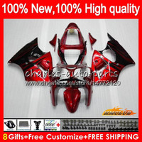 Bodys per KAWASAKI ZX636 ZX 600 CC 6 R ZX636 ZX6R 00 01 02 37HC.0 ZX 636 600cc ZX6R ZX600 ZX 6R 2000 2001 2002 carenatura kit Red fiamme BLK
