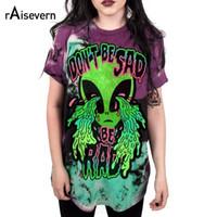 """Raisevern Marque 3d Imprimer À Manches Courtes Conception Bizarre """"Ne Sois Pas Triste"""" T-shirt Alien Femmes Mode Tee Drôle Style Crying Eye Y19051301"""