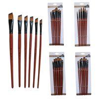 6 Pcs / lot Art Modelo tinta aquarela óleo de cabelo Nylon Acrílico Drawing Art Supplies Brown Pintura Artesanato Artista Escovas Set