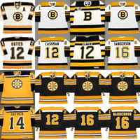 Boston Bruins ADAM OATES WAYNE CASHMAN BILL GUERIN GLEN Sather GRANAT ACE BAILEY MILT SCHMIDT DEREK SANDERSON Özel Hokeyi Formalar S-5XL