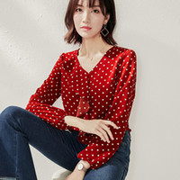 Nova Moda de Luxo Bolinhas Camisas de Chiffon Primavera Outono Roupas Femininas Lady Ruffle Blusas Elegante Escritório de Negócios Camisas de Impressão Magro Tops