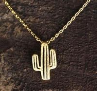 Bohème Femmes Filles Desert Cactus Colliers Pendentif Accessoires de mode Bijoux usine Chain Choker Collier Cadeaux d'anniversaire Bijoux SHU43