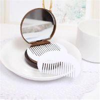뜨거운 7 색 코코아 쿠키 메이크업 거울 귀여운 포켓 휴대용 접이식 초콜릿 플라스틱 화장품 도구 빗 라운드 소형 허영 거울