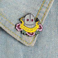 Blume mit dem Giganten aus Emaille Pin Roboter Banner Denim Abzeichen Hemd Tasche Jacken-Revers-Broschen für Frauen Schmuck Geschenk für Freund