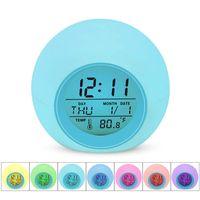 Alarm Clock LED Student chiaro dell'orologio digitale termometro 7 colori che cambiano la luce di notte Glowing Comodino orologi per i bambini camera da desktop
