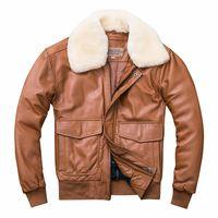 G1 uso piloto da força aérea A primeira camada de ovelha jaqueta de couro genuíno com lã colllar Casacos de algodão outwear dos homens