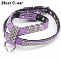 Dog Collar Bling Rhinestone Dog Harness Soft Suede Fabric Ha...