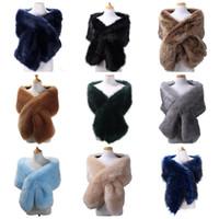 Bandanas fausse fourrure écharpe hiver châle femmes femmes imitation écharpes écarts longs cheveux cheveux pour la mariée