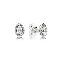 Orecchini con diamante CZ per gioielli di lusso da donna con scatola per orecchini in argento sterling 925 con goccia a goccia di Pandora