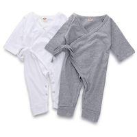 Nett zurück Flügel Baby Body Langarm Grau Weiß Baumwolle Kind-Jungen-Mädchen-Spielanzug-Overall-Säuglings-Baby-Herbst-Kleidung Outfits