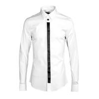 Novo design sólido branco camisa de manga longa homens marca de roupas de primavera casual mens camisa de qualidade camisas confortáveis chemise masculino