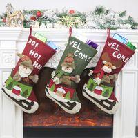 Крупноразмерные Xmas чулки подарочные сумки конфеты сумки Рождественская елка орнамент носки Свадеб рождественские украшения Xmas Supplies CFYZ328Q