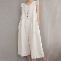 Fashsiualy Femmes Coton Combishort Body Linen Loose O-cou sans manches solide couleur Casual Jumpsuit Whosale Dropshipping