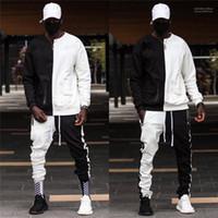 Herbst Mens Designer Zweiteiler Hose Mens Street Style survêtement Pour Homme Mode HipHop Kontrast Farbe Tracksuits Frühling