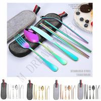 ポータブルフラットウェアセット5色の食器8のPCS /ロットアウトの食器衣類エコ - 台紙のステンレス鋼藁ブラシスプーンフォーク箸のナイフ