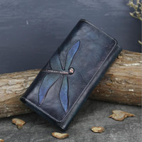 New first layer cowhide wallet female butterfly leather carv...