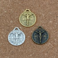Saint Jesus Benedict Nursia Patron Crucifix Croix alliage Charms Pendentifs Bijoux DIY 21.2x24.5mm 100 Pcs / lot 3 couleur A-355