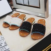 Самых новых женщин Rhinestone низкой пятки тапочки черный жемчуг работы летом сандалии женщин платье обувь классические тенденции моды Большой размер 35-43