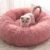 Longue super doux en peluche Pet lit chaud Chat Chenil ronde d'hiver Sac de couchage Puppy Coussin Mat Fournitures de chat Portable confortable