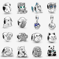 Animal animal de compagnie 925 sterling argent j'aime mon animal de compagnie pavé impression Charm Toujours à votre côté Hibou Dangle Charm Fit Fit Bracelets Pandora