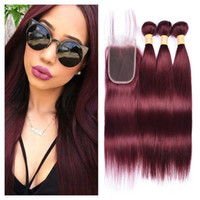 99j Burgundy Human Hair Weaves 3 Bundles with Lace Closure 4...