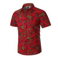 Mens Summer Beach Hawaiian Shirt 2019 Vintage Paisley Print Short Sleeve Dress Shirt Men Business Casual Shirts Chemise Homme