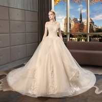 A new word shoulder the main wedding dress the bride long tr...