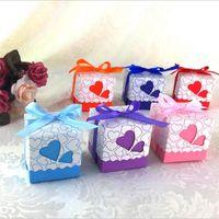 Любовь Сердце Лазерная Резка Полые Подарочные Коробки Конфет Свадьба Пользу Подарки Сумки С Лентой Свадьба День Рождения Поставки
