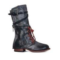 La venta caliente, zapatos de las mujeres del invierno del otoño cuero de la PU ata arranca media pantorrilla señoras de la hebilla de correa de la vendimia Zip plataforma botas de montar Zapatos Mujer